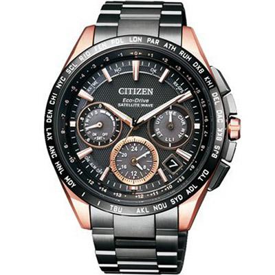 (無卡分期12期)CITIZEN 星辰光動能鈦衛星計時腕錶(CC9016-51E)-黑x玫瑰金色