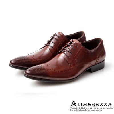 ALLEGREZZA-真皮男鞋-時尚型格-真皮藝紋雕花尖頭綁帶鞋咖啡紅