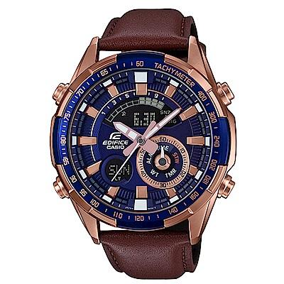 EDIFICE多層次錶盤時尚休造型皮帶賽車錶-咖啡(ERA-600GL-2)/47.1mm