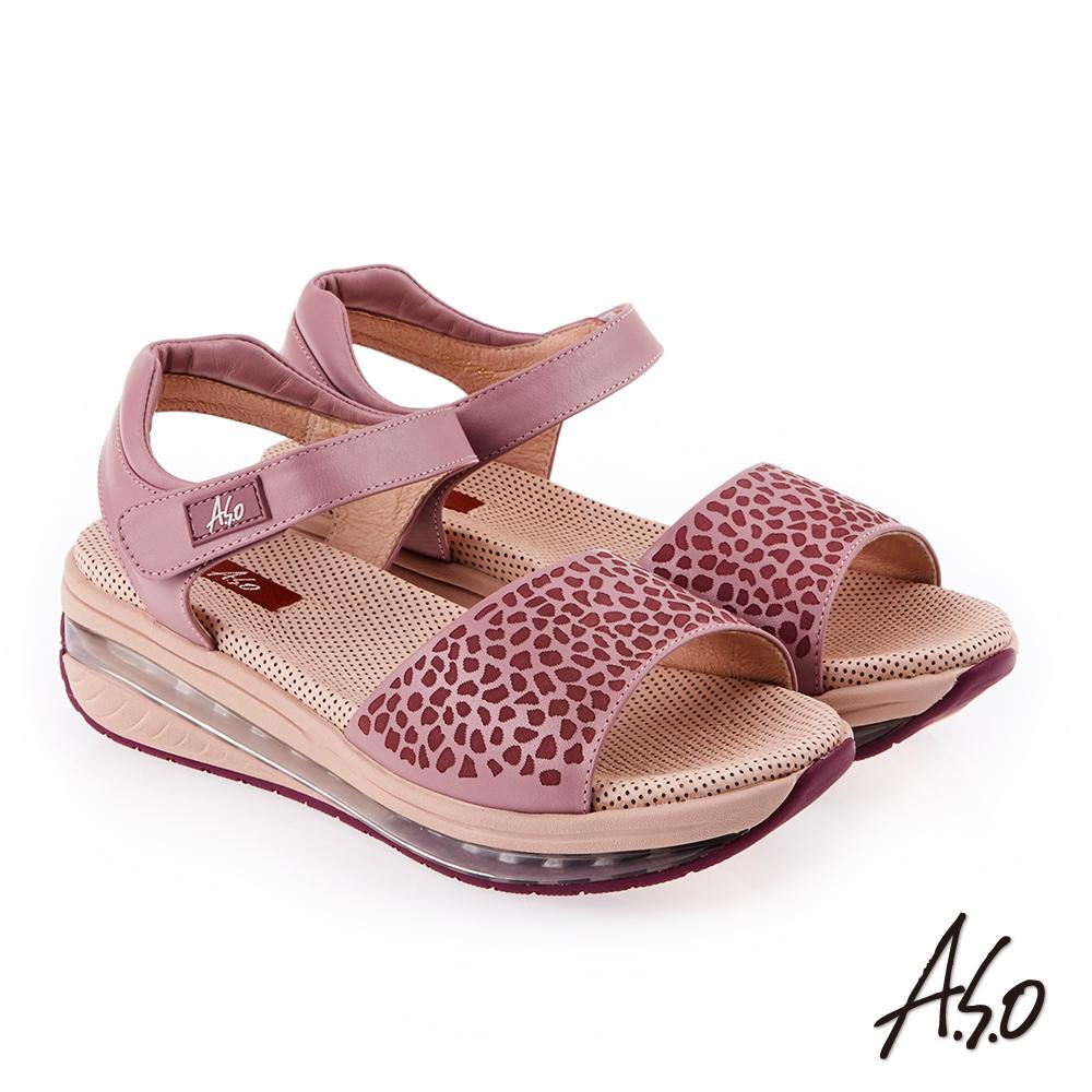 A.S.O 超能力 俏麗豹紋全真皮輕量奈米鞋墊休閒涼鞋 淺紫