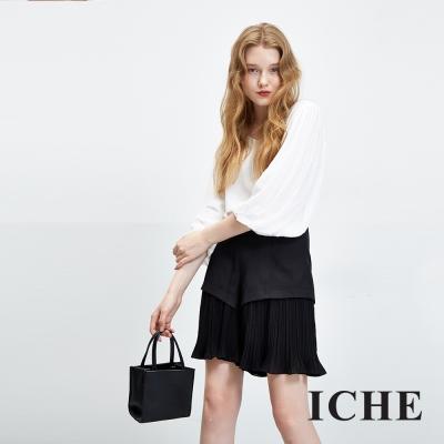 ICHE衣哲-拼接細摺波浪造型短褲