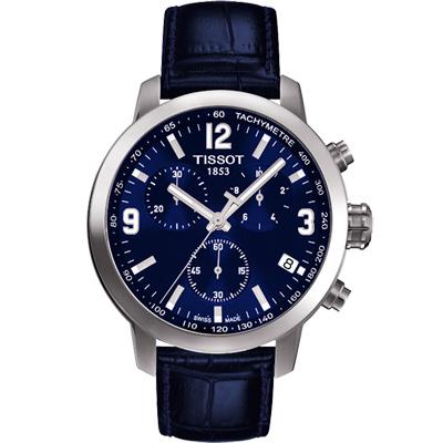 TISSOT PRC 200 競速三眼計時皮帶腕錶~藍 42mm
