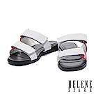 拖鞋 HELENE SPARK 個性撞色雙帶釦牛皮平底拖鞋-白