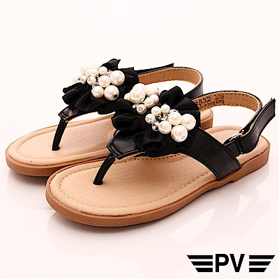 PV日系私藏 緞帶珍珠夾腳鞋款 8532黑(中小童段)
