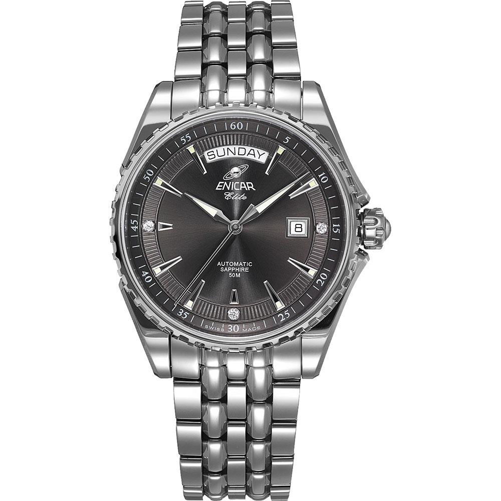 ENICAR 英納格經典系列自動鍊帶男錶-灰x銀/39.5mm