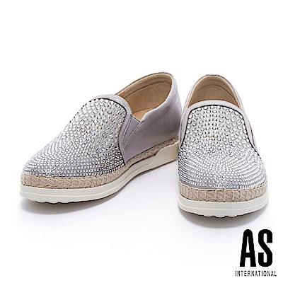 休閒鞋 AS 魅力搶眼雙色晶鑽排列設計全真皮草編厚底休閒鞋-銀