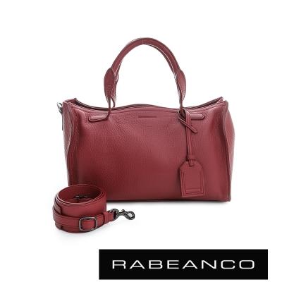 RABEANCO-荔枝紋皮革手提肩背長方包-紅