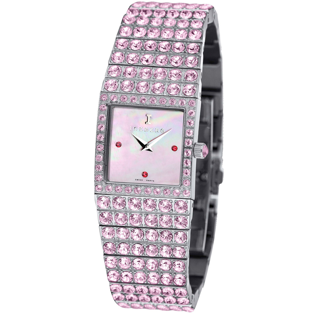 ICEBERG 璀璨風華粉紅珍珠母鑽錶-粉紅鑽/20x23mm