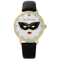 kate spade 經典紅脣女王真皮手錶-白x金框x黑/34mm