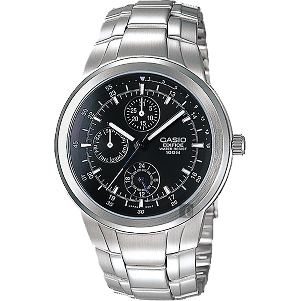 CASIO 卡西歐 EDIFICE 運動風日曆手錶-黑x銀/53.5mm