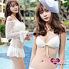泳衣 夏日微醺 鋼圈三件式比基尼泳裝(白L) AngelHoney天使霓裳