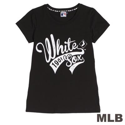 MLB-芝加哥白襪隊流線型印花T恤-黑(女)