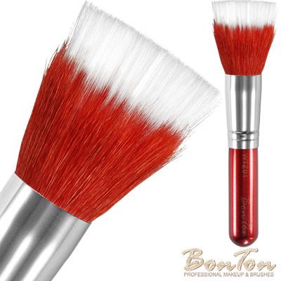 BonTon 湛紅短柄 雙層粉底刷/腮紅刷(L) WTZ01 羊毛+白色纖維毛