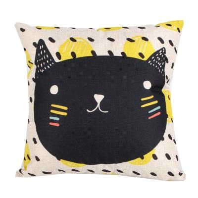 俏皮凱特 棉麻舒適方型抱枕.靠枕 (點點貓)