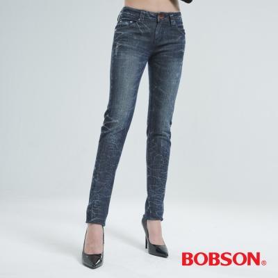 BOBSON 微破地裂紋小直筒褲 (中藍)