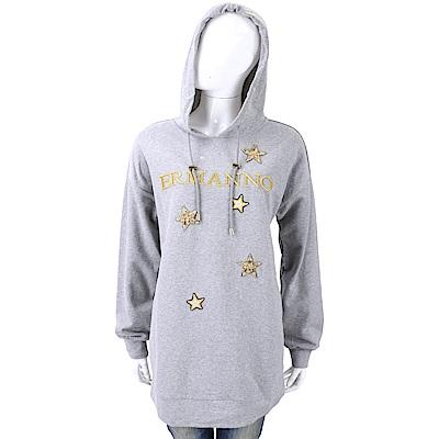 ERMANNO SCERVINO 星星補丁貼灰色連帽長版運動衫