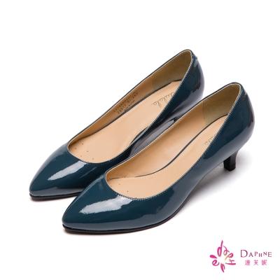 達芙妮DAPHNE-百搭素面漆皮尖頭高跟鞋-品味深