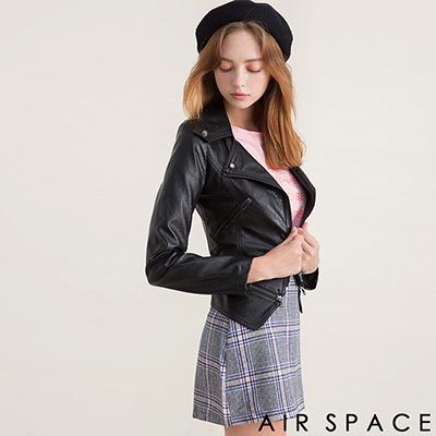 AIR SPACE 2WAY鉚釘拉鏈短版騎士皮衣外套(黑)