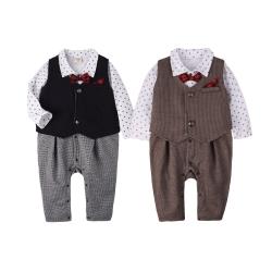 baby童衣 男寶寶連身衣 長袖紳士造型 蝴蝶結套裝 50809