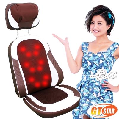 GTSTAR 全開背12顆溫熱按摩頭按摩椅墊頸部揉捏款 - 咖啡色