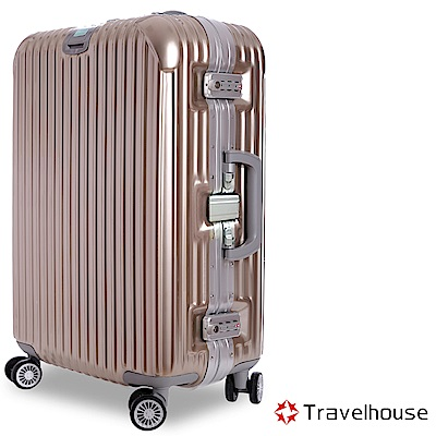 Travelhouse 爵世風華 29吋PC鋁框鏡面行李箱(香檳金)