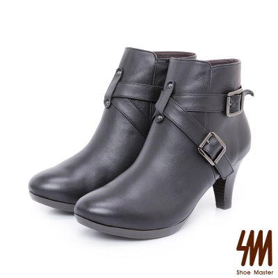 SM-手工全真皮-率性素面交叉扣粗高跟短靴-黑色
