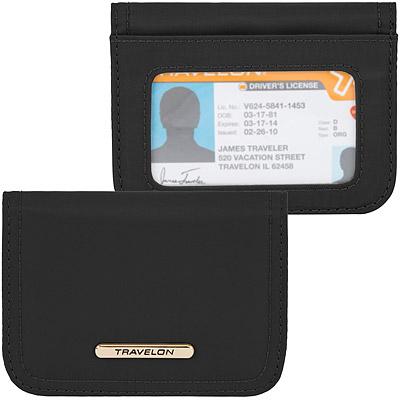 TRAVELON RFID扣式卡片夾(黑紫)