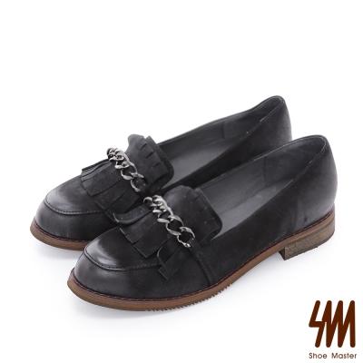 SM~ 全真皮~刷色流蘇鏈帶平底粗跟樂福鞋~黑色