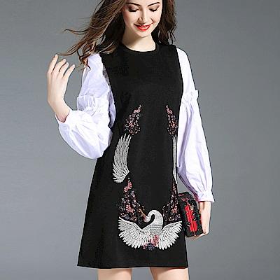 a la mode 艾拉摩兒 仙鶴刺繡背心裙內寬鬆襯衫兩件式洋裝(S-XL)