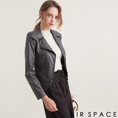 AIR SPACE 2WAY鉚釘拉鏈短版騎士皮衣外套(灰)