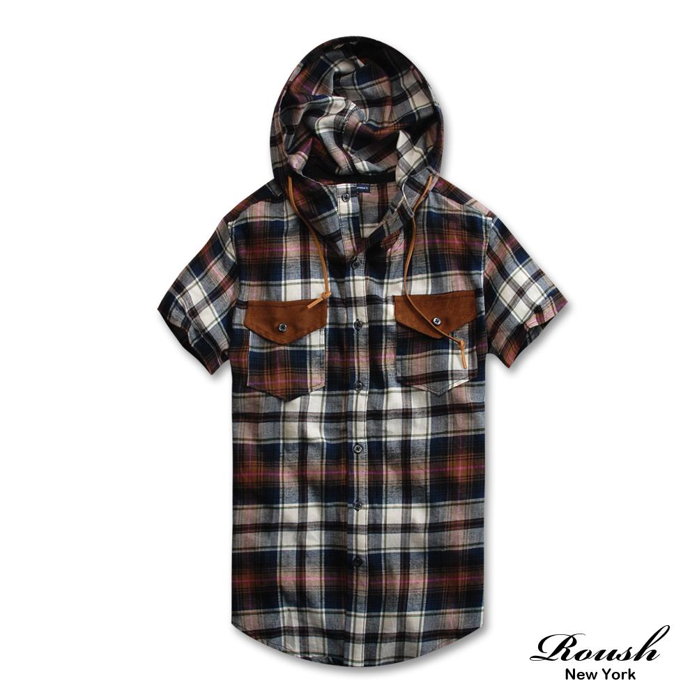 【 Roush 】皮革口袋設計高領連帽格紋襯衫 (3色)