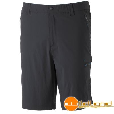 Wildland 荒野 0A31386-93深灰色男 彈性腰頭鬆緊帶短褲/休閒褲