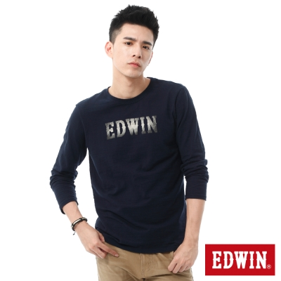 EDWIN-牛仔紋LOGO印花長袖T恤-男-丈青
