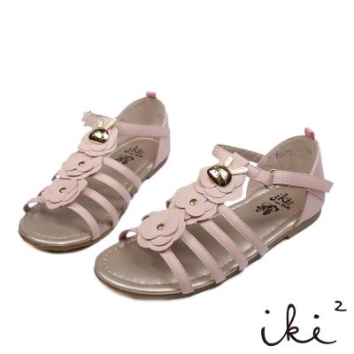 iki2童鞋-咕妮兔系列-羅馬花朵涼鞋-甜蜜粉