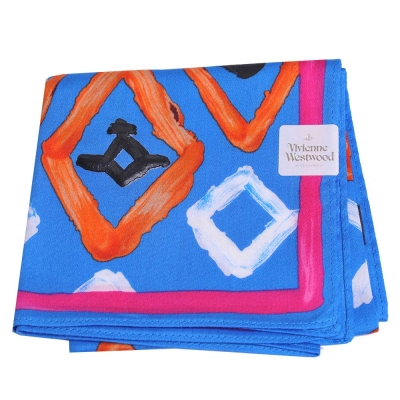 VIVIENNE WESTWOOD 油漆塗鴨LOGO帕領巾(寶藍色)
