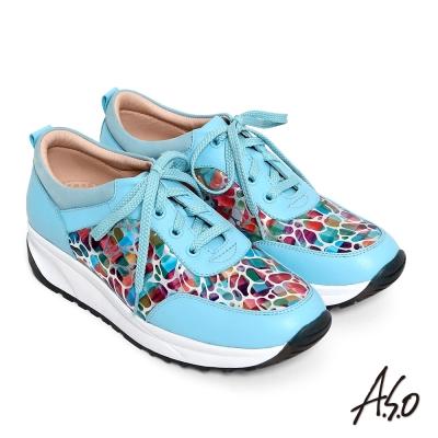 A.S.O 3D超動能 繽紛壓紋牛皮奈米綁帶健走鞋 淺藍色