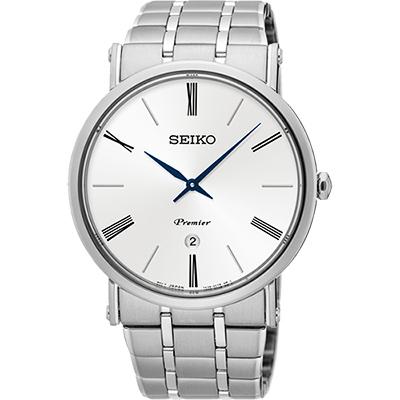 SEIKO 精工 Premier 系列超薄石英腕錶(SKP391J1)-銀/40mm