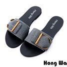 Hong Wa-時尚金屬英文字釦派對涼拖鞋-銀