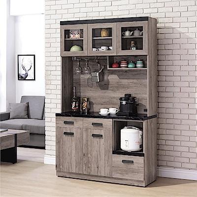 品家居 里歐尚4尺石面餐櫃組合-121x40.5x200cm免組