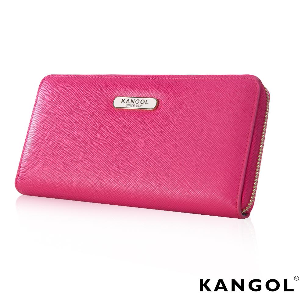 福利品KANGOL英式優雅經典風華十字紋頭層皮設計感拉鍊長皮夾-桃粉