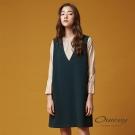 OUWEY歐薇 優雅謐綠假兩件式洋裝(綠)-動態show