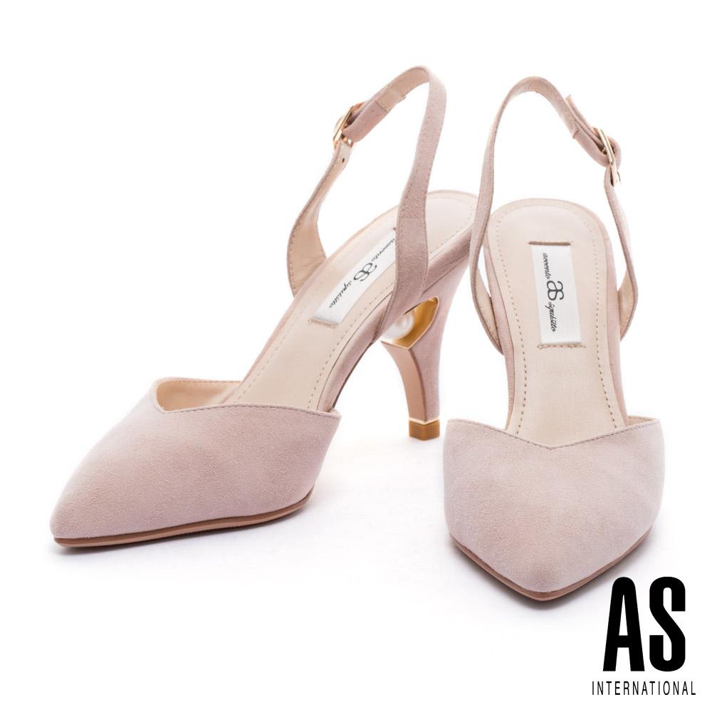 高跟鞋 AS 優雅質感珍珠點綴後帶美型尖頭高跟鞋-米
