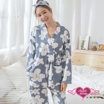 天使霓裳 花朵印花 二件式棉質長袖哺乳家居服(藍灰F)