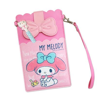 三麗鷗授權正版 My Melody美樂蒂 皮革紋手拿包 萬用手機袋(美樂蒂小鳥)