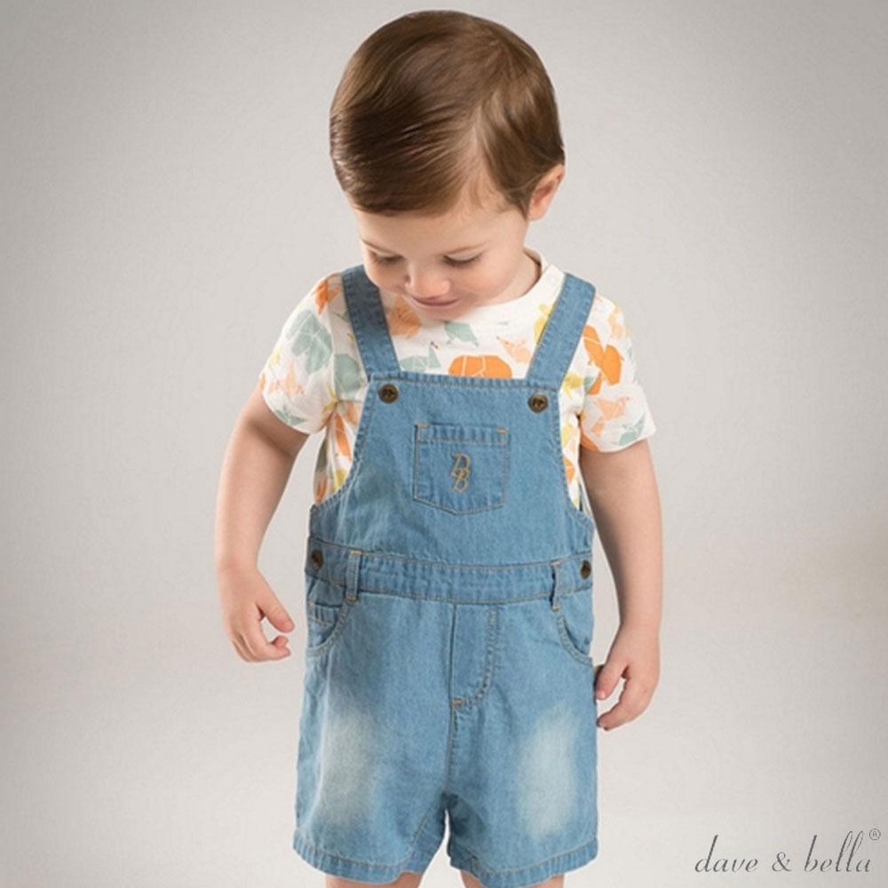 Dave Bella 牛仔藍刺繡吊帶牛仔短褲