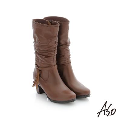 A.S.O 心機美靴 牛皮街頭風中筒靴 咖啡色