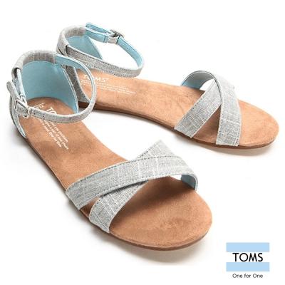 TOMS 繫踝帆布平底涼鞋-孩童款(銀)