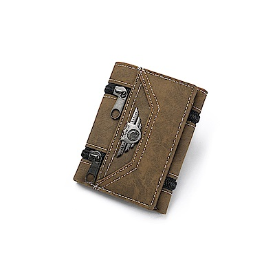 JINBAOLAI GT1725BR三折韓版PU皮夾 附零錢袋咖啡