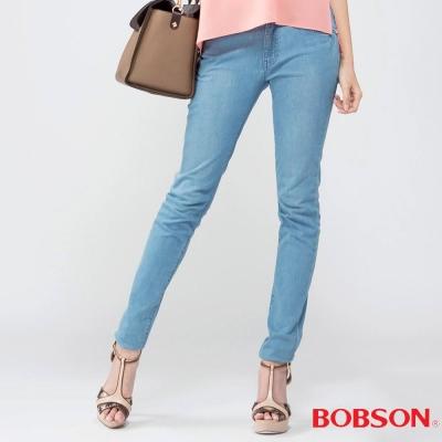 BOBSON   女款高腰膠原蛋白美肌褲-淺藍