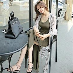 La Belleza幾何菱形印花長版荷葉袖大開叉綁帶雪紡罩衫外套